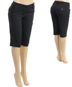 Ann Taylor Curvy Fit Solid Black Flat Front Bermuda Dressy Shorts - Sz.4