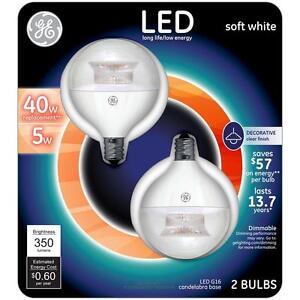 GE LED G16 Globe Candedabra Base Free Shipping