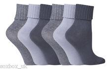 6 Pair Ladies SuperSoft JA Turn Over Top socks Size 4-8 Uk 37-42 Eur Light Blues