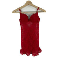 Victorias Secret Womens Top Size 32B Padded Red Lace Sleeveless Sweetheart