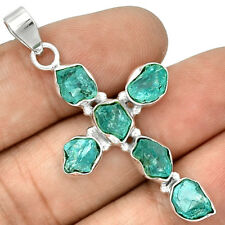 Cross - Neon Blue Apatite 925 Sterling Silver Pendant Jewelry PP61047