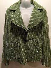 Adorable JLO Jennifer Lopez Women's Blazer green corduroy/white dots Large