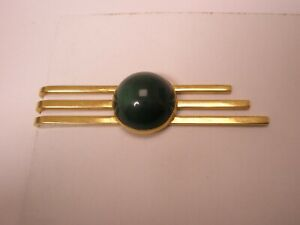 -Forest Green Cabochon & Gold Plate Vintage SWANK Tie Bar Clip simple plain