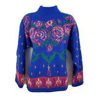 Gitano Knits Vintage 80s Mock Neck Womens Blue Long Sleeve Floral Sweater Size L