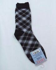 Womans Argyle Fashion Black Crew Socks size 9-11 White Gray Black Trim