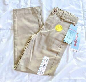 Boy's Cat & Jack khaki stretch uniform pants Durable Knee adjustable 6 Slim NWT