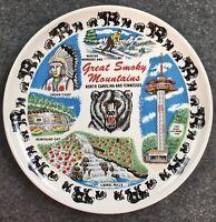 Vintage Great Smokey Mountain National Souvenir Plate Tennessee North Carolina