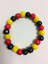 Aboriginal colours 10mm wooden beads stretch bracelet 19cm Aus Seller