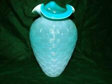 Vintage Fenton Jade Opaline Basket Weave Glass Vase ~ Art Glass Vase