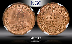 1917-C India 1/12 Anna NGC MS63RB Unc Bu Unique Toned Select Coin