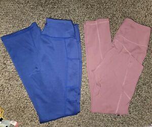 Jaanuu lot Leggings Pants Women S side pockets pink blue high rise medical b23