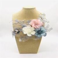 3D Blumen Patch Stickerei Applique Spitze Stoffpaste Hand genäht Patch YR