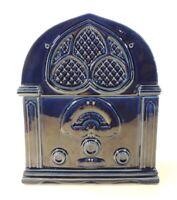 VTG Essentials Japan Novelty Cookie Jar Radio Shape Cobalt Dark Blue