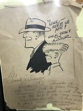 Early Chester Gould  Signed Sketch of Dick Tracy, 1940s