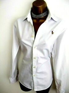 'Exquisite' RALPH LAUREN natural white Oxford blouse shirt top UK 12