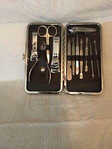 (3) 12PCS Grooming Kit. Unisex.Full Mani/Pedi Set W/ Case. High QUAL. Metal
