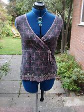 white stuff size 12 faux wrap smart, stylish sleeveless top-grey purpley pink