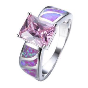 Woman Square Cut Pink Fire Opal Kunzite Gemstone Platinum Plated Ring Size 6-10