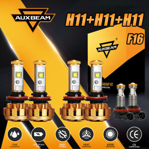 AUXBEAM H9+H11+H11 Combo LED Headlight Bulbs Kit 6000K Hi Lo Beam&Fog Lights F16