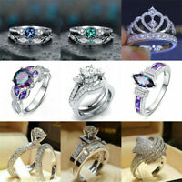 Fashion 925 Silver Solid Classic White Sapphire Band Wedding Ring Jewelry Sz6-10