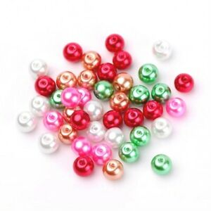 Mixed-Colour Acrylic Beads Plain Round 8mm Pearlised Pack Of 100