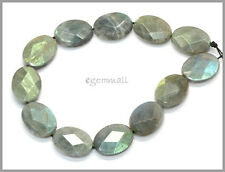 "13 Rainbow Labradorite Oval Cushion Faceted Beads 12x16mm 8.2"" #85245"