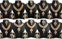 Indian Bollywood Traditional Fashion Gold Tone Kundan Bridal Party Jewelry Set