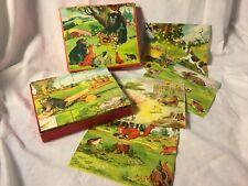 Vintage 30 Wood Block 6 Sided Picture Puzzle Set wit 6 Animal Prints ~Czech
