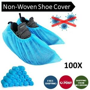 Disposable Non-woven 100Pcs Anti-Skid Shoe Cover Overshoes Boot Cover Blue
