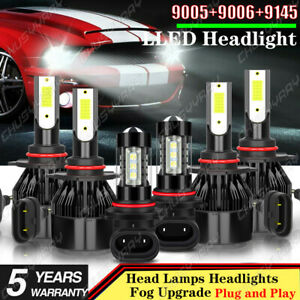 For GMC Sierra 1500 2500 HD 3500 2002-2006 Combo LED Headlight+Fog Light Bulbs