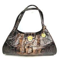 Brahmin Sophie Vintage Brown Croc Satchel Leather Handbag Purse 25th Anniversary