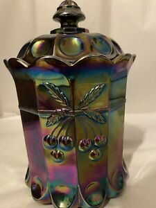 Indiana Blue Harvest Cherrys Carnival Glass Candy Dish With Lid