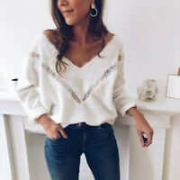 Women Fashion Winter Long Sleeve V Neck Lace Slim Pullover Loose Blouse Tops