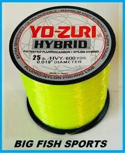 YO-ZURI HYBRID Fluorocarbon Fishing Line 25lb/600yd HIVIS NEW! FREE USA SHIP!