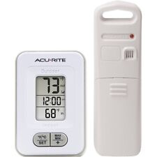 AcuRite Indoor Outdoor Wireless Weather Thermometer With Clock White Brand New!
