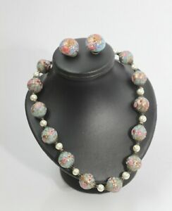 MURANO ITALY GLASS COLORED BEADS NECKLACE & EARRINGS SET
