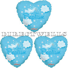 Baptism Blue Dove Heart Shape Mylar or Foil Balloons 18 Inch (3 Balloons)