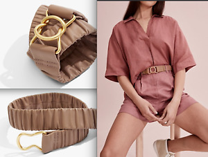 Country Road Genuine Leather RUCHED BELT in Beige/ Cappucino BNWT Sz M - L $100