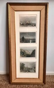 Set of 4 Antique colored engravings: Scheveling, Constance, Shanklin Chine, Huy