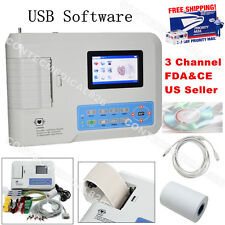 Digital 3 Channel 12 lead ECG/EKG machine +software Electrocardiograph US seller