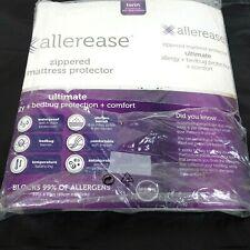 Allerease Twin Mattress Protector Zippered Waterproof Bedbug White Fits 14 Deep