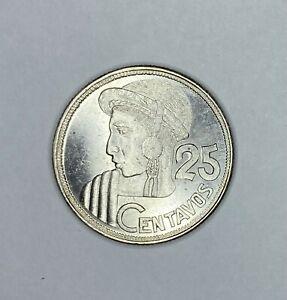 Guatemala 1950 25 Centavos B.U. Silver