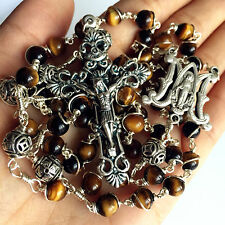 Bali 925 Sterling Silver Beads Tiger Eye Rosary Cross catholic necklace Box GIFT