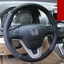 For Honda CRV 2010 Car Interior Steering Wheel Cover Black Leather Hand Sewing