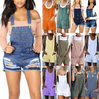 Women's Summer Dungarees Strappy Playsuit Jumpsuit Romper Comfy Shorts Hotpants