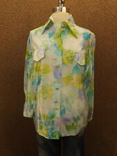 Vtg 60s NOS Mod Artsy Floral NYLON BUTTON DOWN SHIRT S/M Blue Yellow Silky Shine