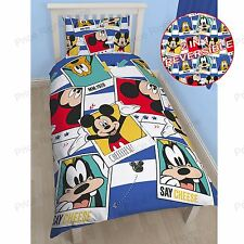 MICKEY MOUSE 'POLAROID' SINGLE DUVET COVER SET NEW 2 in 1 BEDDING