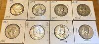 1948-1961 Franklin Silver Half Dollars/ Lot Of 8 Coins