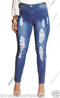 NEW Plus Size Womens Denim Blue Skinny Stretch Jeans Ripped Slim 16 18 20 22 24