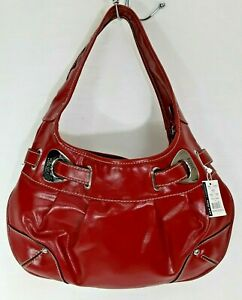 New York & Company Cherry Red Vegan Leather Pleated Hobo Shoulder Bag